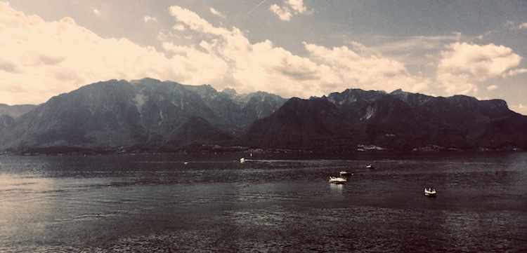 View across the Lac Leman from Vevey, Switzerland