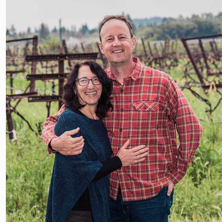 Jill and Steve Matthiasson in their vineyard