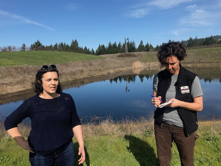 Sarah Wuethrich and Elaine Chukan Brown at Maggy Hawk vineyard, Anderson Valley