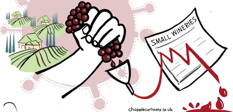 Small wineries squeezed. cartoon