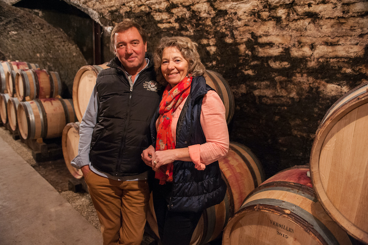 Louis Boillot and Ghislaine Barthod in her cellar