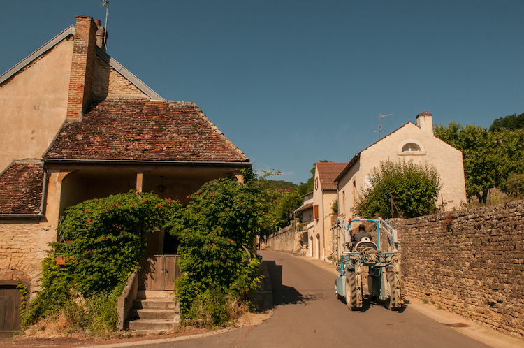Backstreet in Chambolle-Musigny with tractor