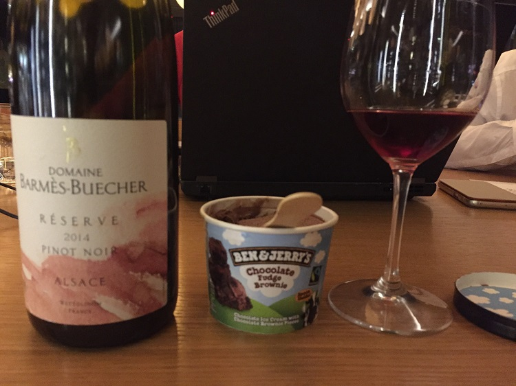 Chocolate ice cream and Alsace Pinot Noir