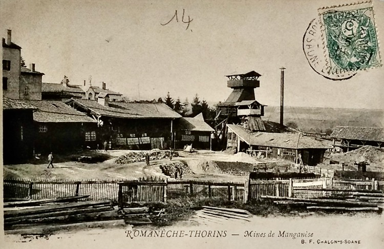 Manganese mine on Romaneche postcard