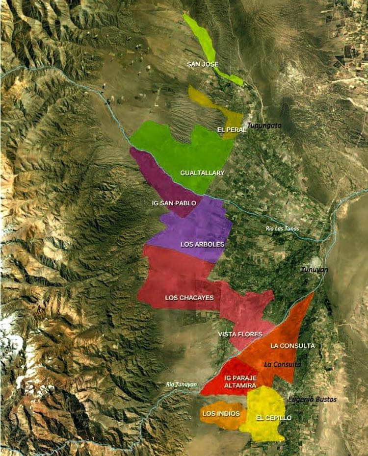 Zuccardi's map of the subregions of the Uco Valley in Argentina