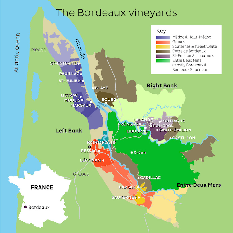 Bordeaux 2020 wine regions map