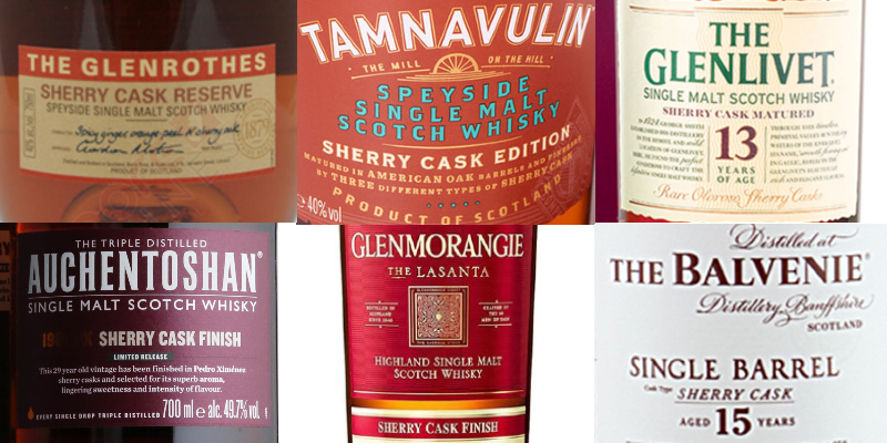montage of sherry cask whisky labels