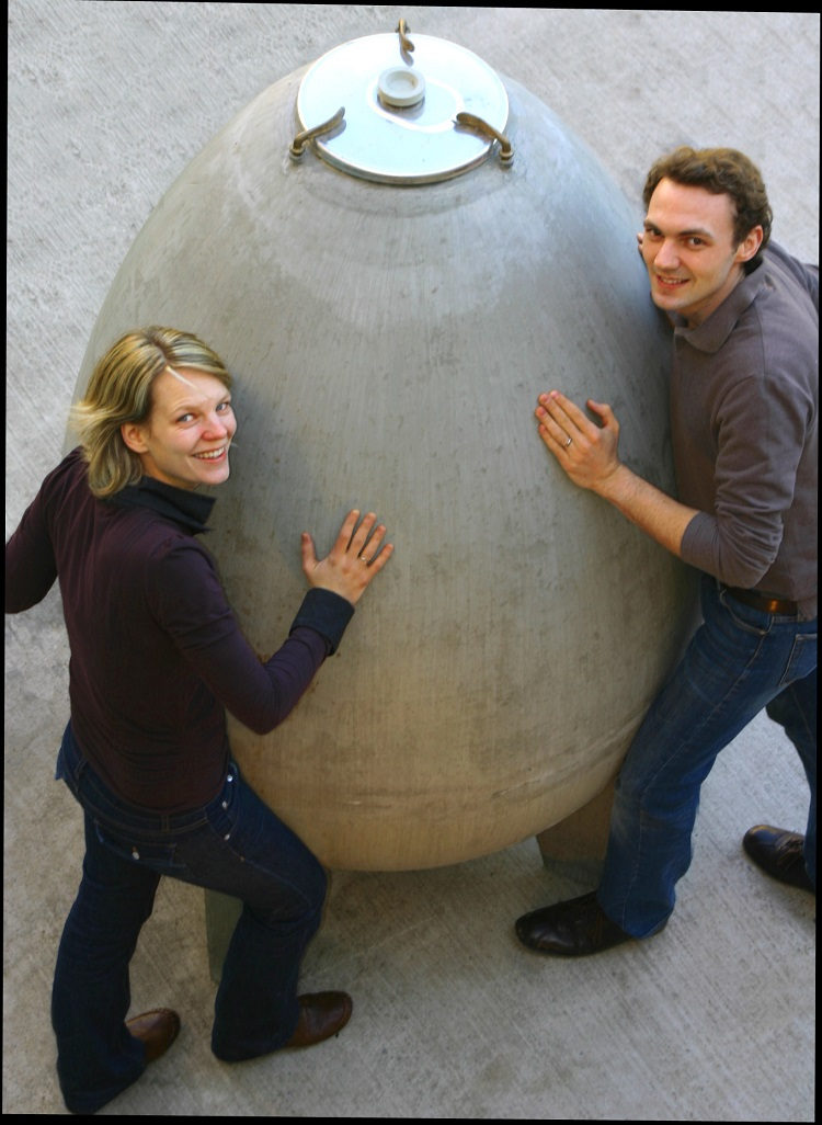 Angela and Werner Michlits with one of their cement eggs