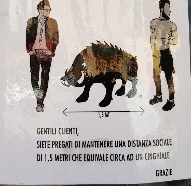 Sign in a shop in Montalcino, March 2021