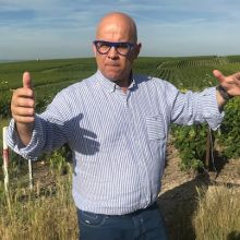 Champagne grower Eriz Rodez in his Ambonnay vineyard