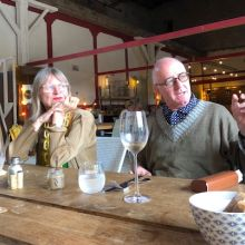 Jancis Robinson and Nicholas Lander at restaurant Bourdasso near Carcassonne