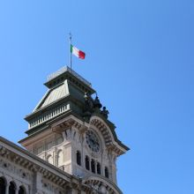 Tower in Trieste with Italian flag