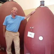 Tuscan winemaker Robin Baum with concrete eggs