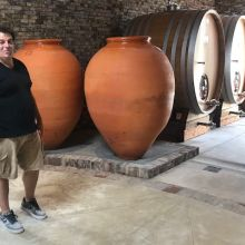 New wine ageing vessels at Catena's La Bodeguita in the Uco Valley with winemaker Alejandro Vigil