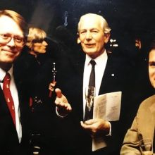 Jan Paulson, Serena Sutcliffe MW, Michael Broadbent and Stephen Browett at a Hardy Rodenstock tasting in the late 1980s