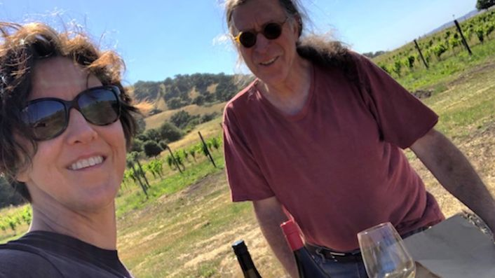 Elaine Chukan Brown and Randall Grahm at Popelouchum vineyard
