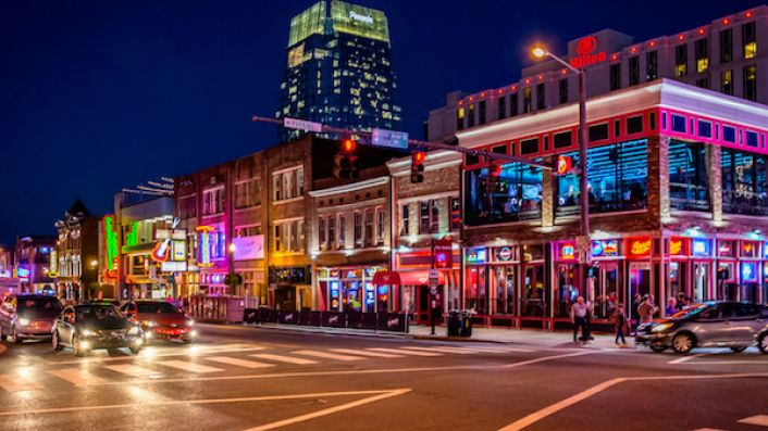 Broadway all lit up in Nashville TN