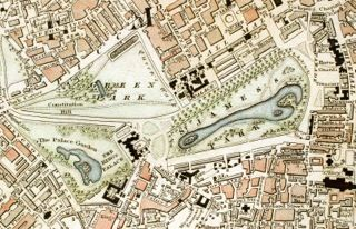 Green Park and St James's Park London from 1833 Schmollinger map