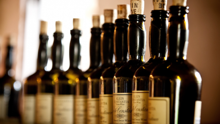 Klein Constantia's Vin de Constance bottles at the IMW HQ 2019