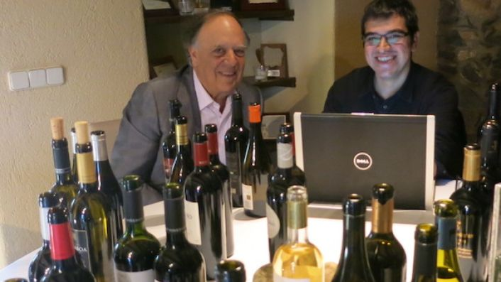 The late Carlos Falco, Marques de Grinon and Ferran Centelles tasting wine