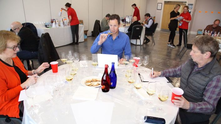 Sarah Jane Evans, Peter Richards MW and Anthony Rose judging at DWWA