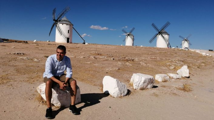 Ferran in La Mancha with windmills