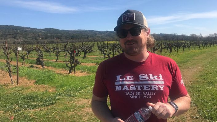 Morgan Twain-Peterson MW in his Sonoma vineyard