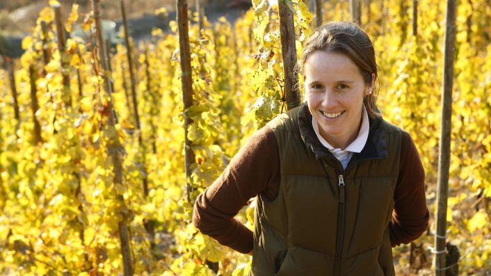 Dr Katharina Prüm in autumn vines in the Mosel, Germany