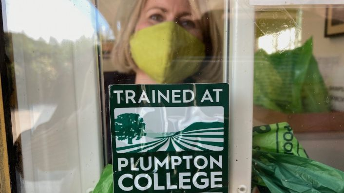 Emma Rice at Hattingley Valley with Plumpton College sign