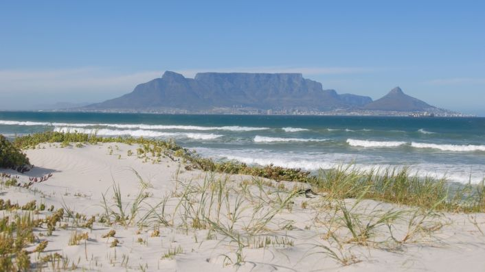 Cape Town and Table Mountain from Bloubergstrand