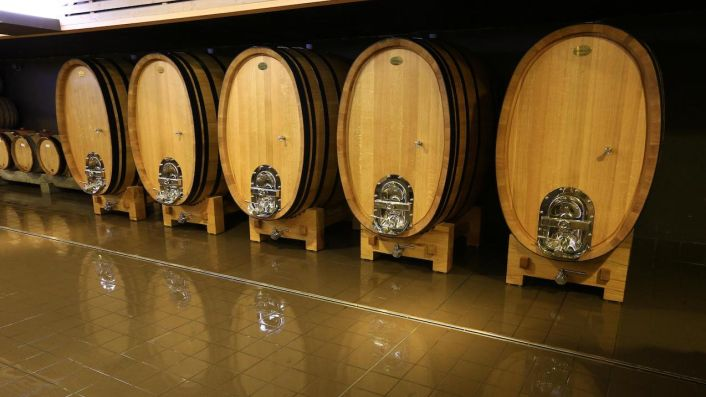 Tardieu-Laurent's foudres in their cellars in Lourmarin