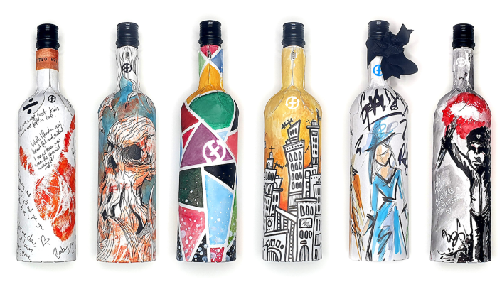 Six designs for a paper Frugal wine bottle