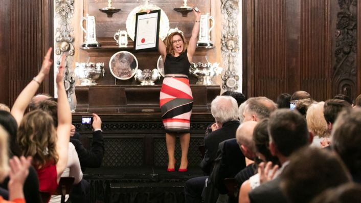 Almudana Alberca MW celebrates in Vintners' Hall