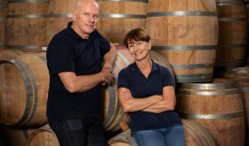 Jeffrey Grosset and Stephanie Toole with their barrels