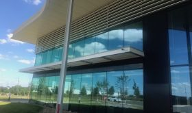 Exterior of Champagne Palmer's environmentally designed new winery outside Reims