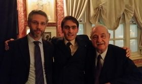 Mauro and Gianfranco Soldera being embraced by Luciano, the maître d' at Harry's Bar