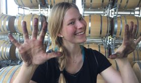 Dirty hands of Samantha Cole-Johnson in Willamette Valley winery 2019