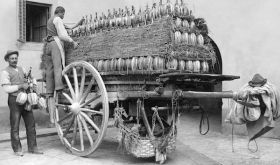 Cart loaded with straw-covered fiaschi in nineteenth century Tuscany