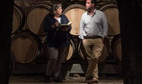 Fiona Morrison MW and Louis-Michel Liger-Belair in his cellar