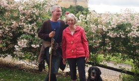 Richard Lane with wife Liz and guide dog Topper