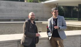 Andrew Morris and Ferran Centelles by the Mies van der Rohe Pavilion in Barcelona