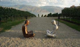 Statues in the vineyard at Mission Hill, BC, Canada