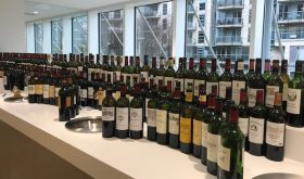 Bottles of left bank claret at the 2020 Southwold-on-Thames tasting