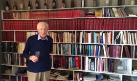 Michael Broadbent MW in his London study with tasting notebooks