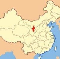 map showing location of Ningxia within China
