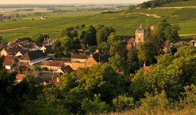 The village of Chambolle-Musigny from above in autumn