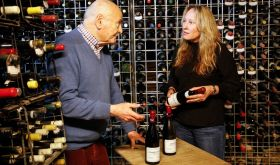 James Halliday and Tamara Grischy of Langton's in his wine cellar