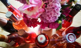 Rose wines and flowers