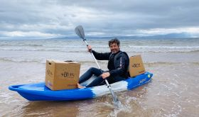 Robin Davies of Swig in kayak off the coast of Ayrshire