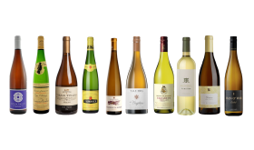 Bottle shots of various white wines